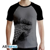 Game Of Thrones - Stark Men's Large T-Shirt - Black and Grey
