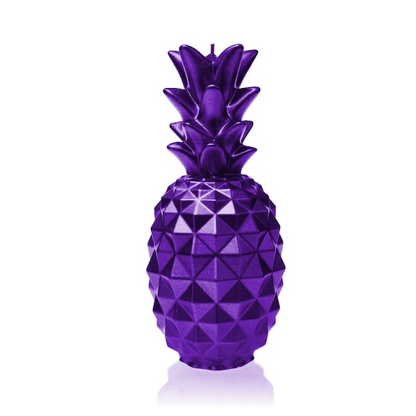 Violet Metallic Large Pineapple Candle