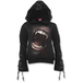 Goth Fangs Women's Small Black Ribbon Gothic Hoodie - Black - Image 2
