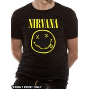 Nirvana - Smiley Logo (Front Print Only) Men's Large T-Shirt - Black