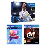 PlayStation 4 (500GB) Black Console with FIFA 18 + Gran Turismo Sport + Singstar Celebration Bundle