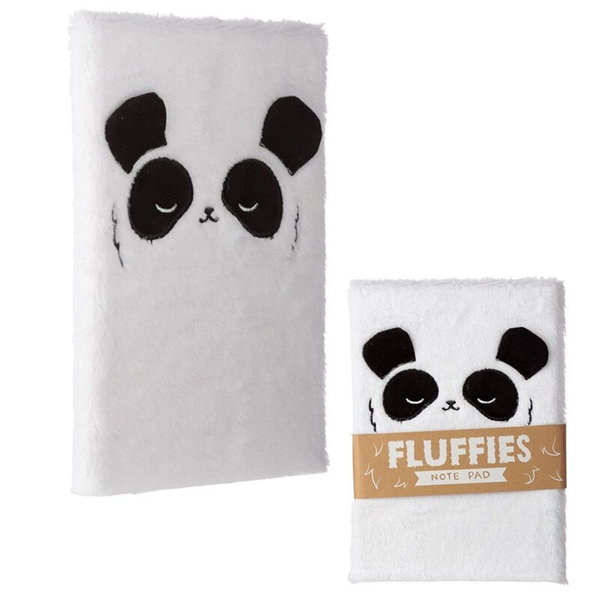Panda Design Fluffy Plush Notebook