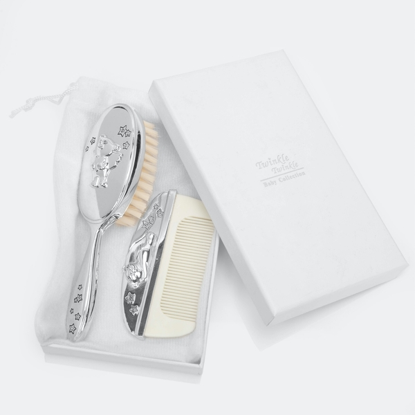 Twinkle Twinkle Silver-Plated Baby Brush & Comb Set
