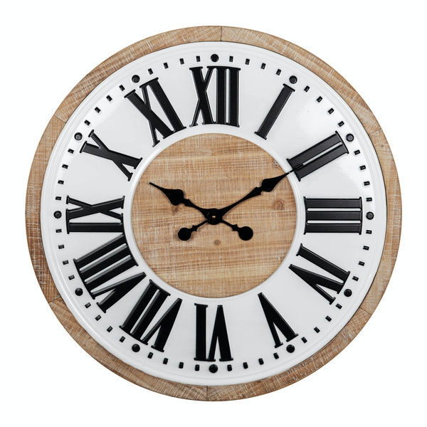 HOMETIME Metal & Wood Wall Clock with Roman Numerals 60cm