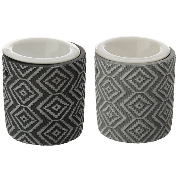 Eden Grey Patterned Concrete Oil Burner with Ceramic Dish