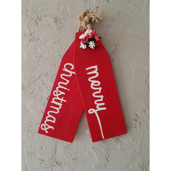 Merry Christmas Red Decorative Wooden Wall Accessory