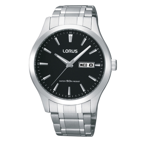 Lorus RXN23DX9 Mens Stainless Steel Dress Watch with Black Dial