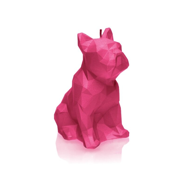 Dark Pink Low Poly Bulldog Candle
