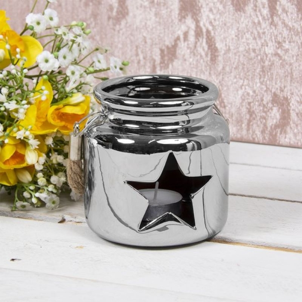 Star Ceramic Candle Holder Silver 10Cm By Lesser & Pavey