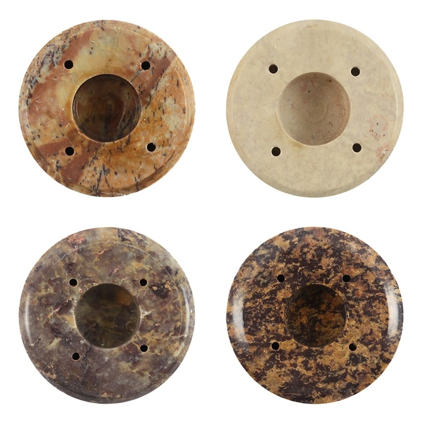 Set of 4 Soapstone Candle/Incense Round Holder