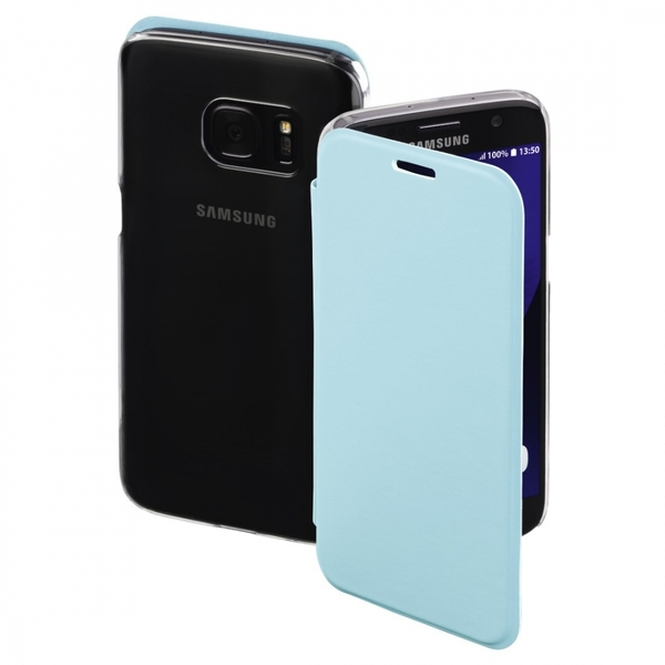 Hama Clear Booklet Case for Samsung Galaxy S7, light blue