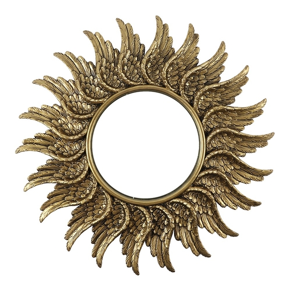 Round Antique Gold Guardian Angel Wing Mirror