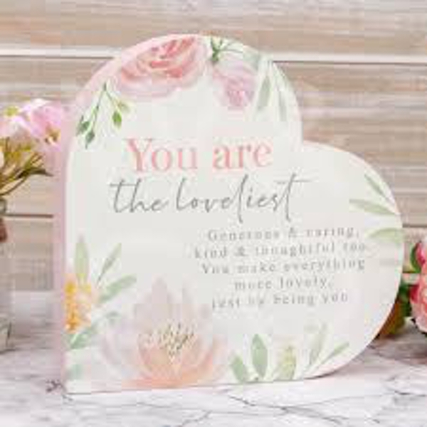 Sophia Wooden Heart Mantel Plaque - You Are the Loveliest