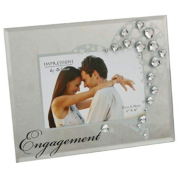 "6"" x 4"" - Glass Frame with Crystal Hearts - Engagement"