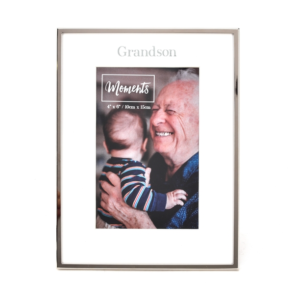 """Moments Silver with Mount Photo Frame 4"""" x 6"""" - Grandson"""