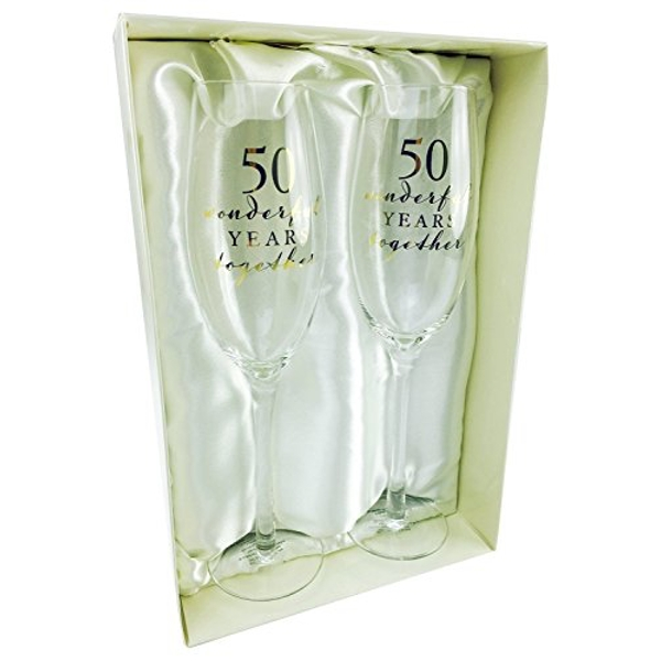 AMORE BY JULIANA? Champagne Flute Set - 50th Anniversary