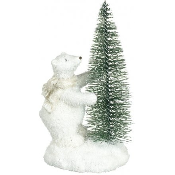 Frosted Bear & Tree Decoration