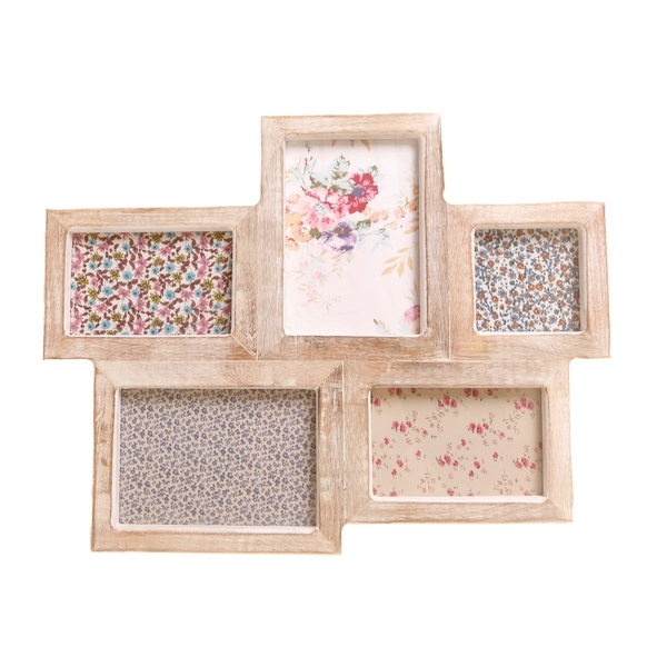Sass & Belle White Wood Photo Frame with 5 Apertures