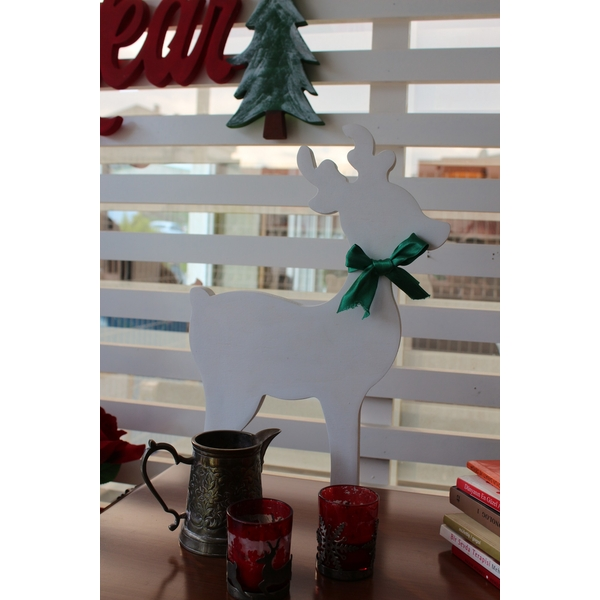 White Deer 2 White Decorative Wooden Wall Accessory