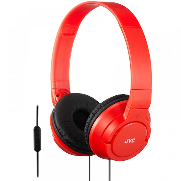 JVC HASR185RN Powerful Bass Headphones with Remote Mic Red