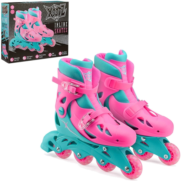 Xootz Kids Inline Skates Adjustable Beginner Roller Blade Boots Girls Pink/Blue MediumUK 13-3