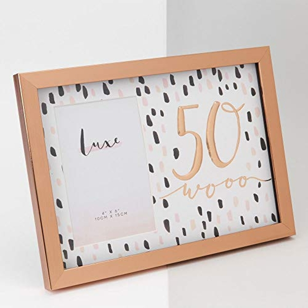 "4"" x 6"" - Luxe Rose Gold Birthday Frame - 50"