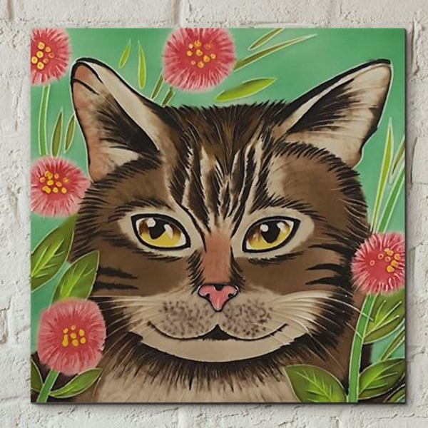 Tile 8x8 Tabby Cat By J Yates Wall Art