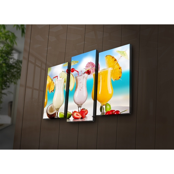 3PAT?ACT-19 Multicolor Decorative Led Lighted Canvas Painting (3 Pieces)