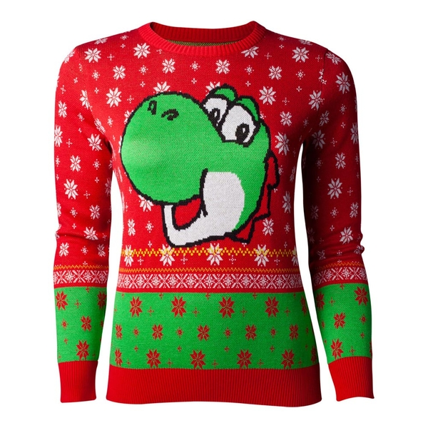Nintendo - Yoshi Christmas Women's Large Sweater - Red/Green