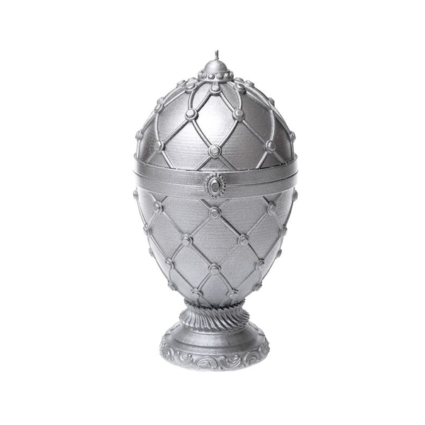 Silver Faberge Egg Large Candle