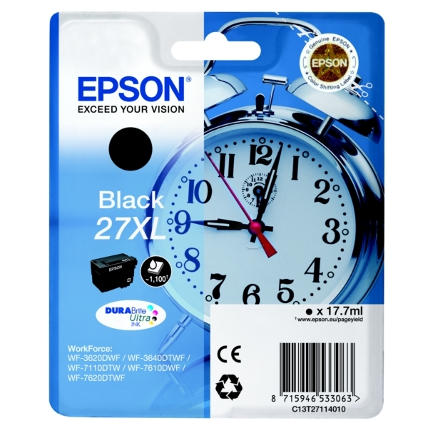 Epson C13T27114012 (27XL) Ink cartridge black, 1.1K pages, 18ml