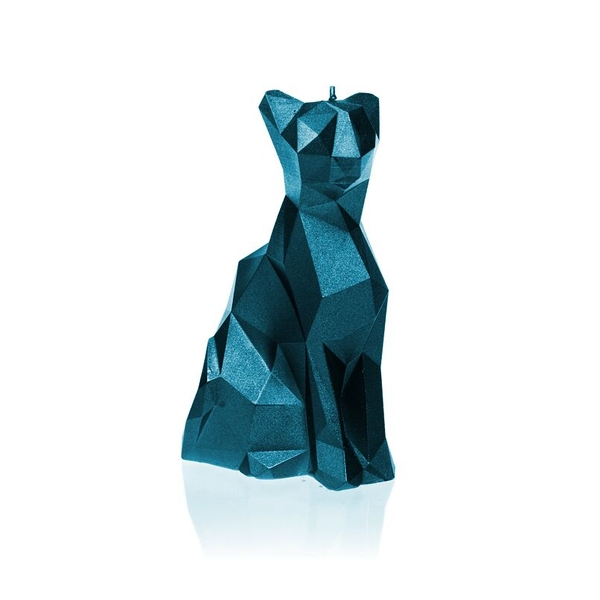 Blue Metallic Low Poly Cat Candle