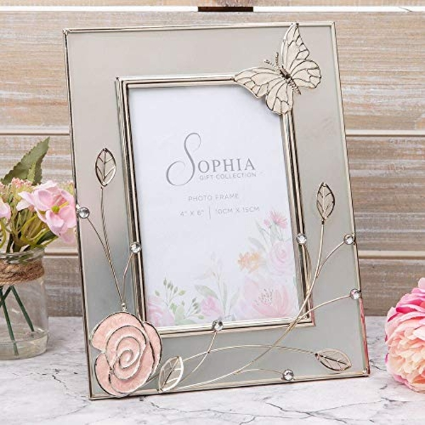 """4"""" x 6"""" Sophia Frosted Glass & Wire Photo Frame - Butterfly"""
