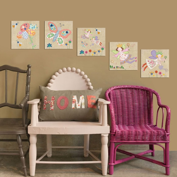 MTB008 Cream Pink Blue White Green Decorative MDF Painting (5 Pieces)