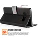 Samsung Galaxy Note 8 PU Leather Slim Wallet Stand Case - Black - Image 3