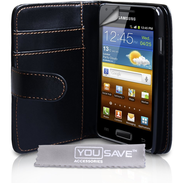 YouSave Accessories Samsung Galaxy S Advance Wallet Leather-Effect Case - Black