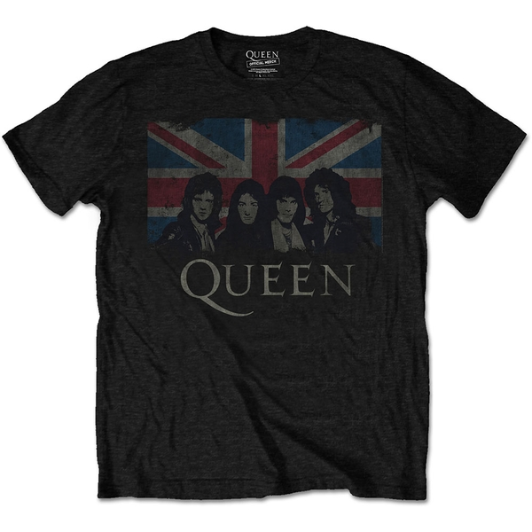 Queen - Vintage Union Jack Men's XXX-Large T-Shirt - Black