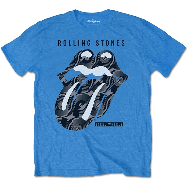The Rolling Stones - Steel Wheels Unisex Small T-Shirt - Blue