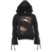 Goth Fangs Women's Large Black Ribbon Gothic Hoodie - Black
