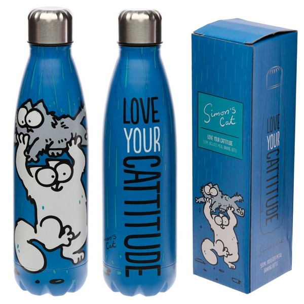 Simon's Cat Reusable Stainless Steel Hot & Cold Thermal Insulated Drinks Bottle 500ml