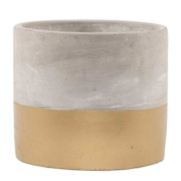 Sass & Belle Tuva Gold Dip Cement Planter