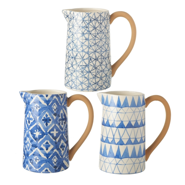 Ceramic Patterned Jugs Set of 3 By Heaven Sends