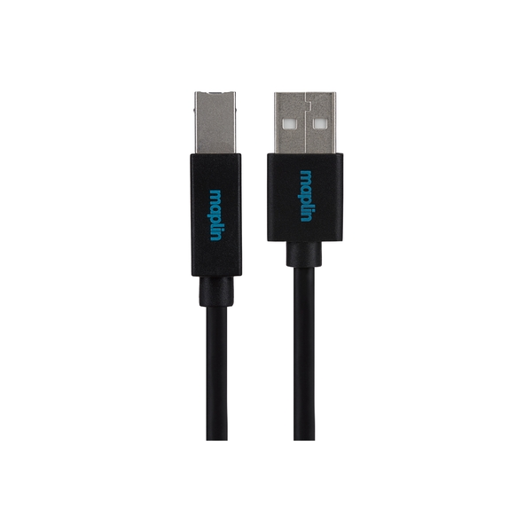 Maplin Premium USB A 2.0 Male to USB B Male Cable 0.75m Black