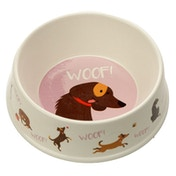 Bamboo Composite Catch Patch Woof Dog Bowl