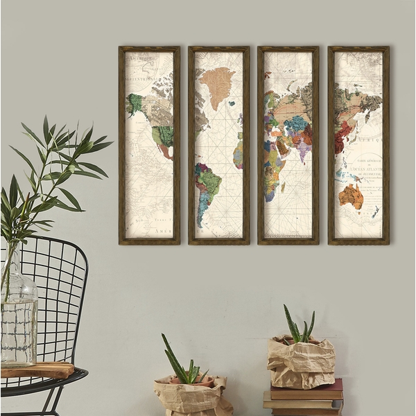 MZM385 Multicolor Decorative Framed MDF Painting (4 Pieces)