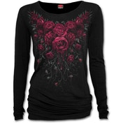 Blood Rose Women's Small Baggy Long Sleeve Top - Black