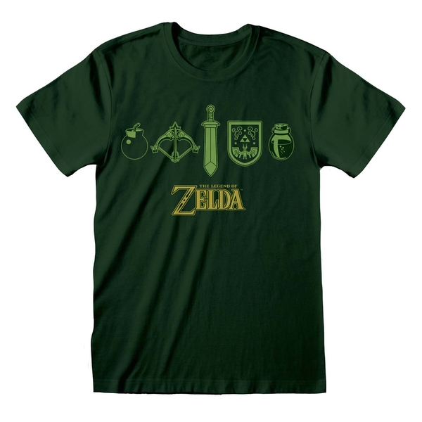 The Legend Of Zelda - Icons Unisex X-Large T-Shirt - Green