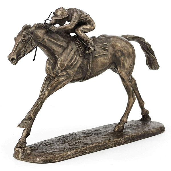 Horse Racing On The Flat  by Harriet Glen Cold Cast Bronze Sculpture 16cm