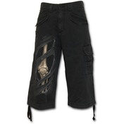 Bone Rips Men's Large 3/4 Long Vintage Cargo Shorts - Black