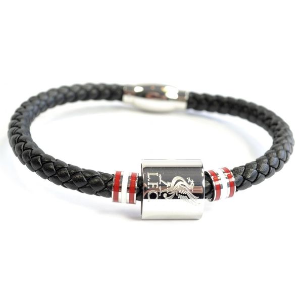 Liverpool Leather Colour Ring Stainless Steel Boxed Bracelet